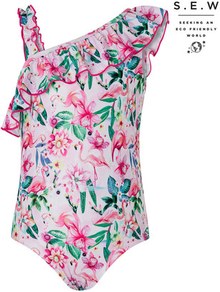 Under Armour Floella Flamingo Floral Swimsuit with Recycled Polyester Pink