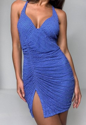 Missguided Blue Sequin Ruched Strappy Cami Mini Dress