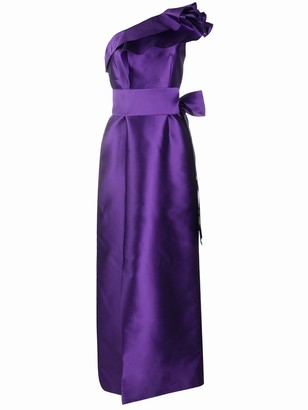 Alberta Ferretti Ruffle-Shoulder Satin Gown