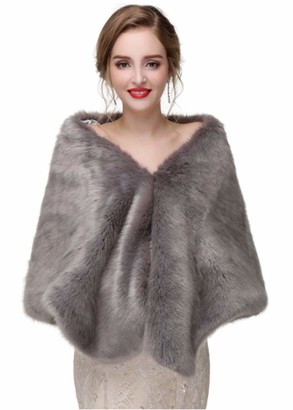 Deniferymakeup Bride Sleeveless Faux Fur Stole Winter Bridal Cover Up for Women and Girls (G)