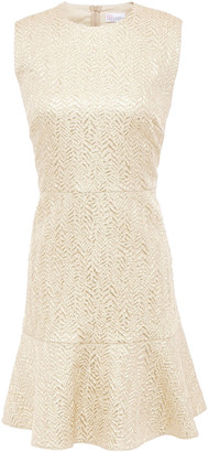 RED Valentino Fluted Metallic Jacquard Mini Dress