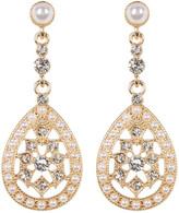 Natasha Accessories Glitz Faux Pearl Delicate Teardrop Earrings