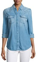 AG Jeans Sutton Embroidered Chambray Shirt