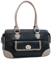 Dasein Black & Gray Matte Croc-Embossed Shoulder Bag