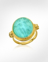 Three Graces - 18K Gold Turquoise Mother of Pearl Cameo Ring
