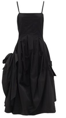 Molly Goddard Astro Gathered Cotton Canvas Midi Dress - Black