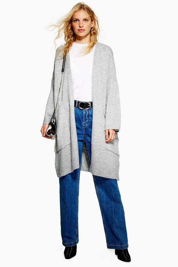 Topshop Oversized Pocket Longline Cardigan