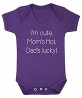 FLOSO Baby Girls/Boys I Am Cute, Moms Hot, Dads Lucky Short Sleeve Bodysuit (0-3 Months)