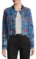 GREY by Jason Wu Paneled Denim Jacket w/ Scribble Embroidery