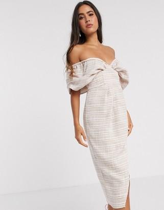 ASOS DESIGN blouson bodice wrap midi dress in textured pale pink check