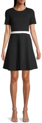 Bow-Waist Ponte Dress