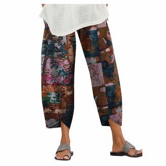 Muyise Women Plus Size Floral Print High Wasit Elastic Waist Loose Pajamas Wide Leg Casual Yoga Running Trousers Pants S-5XL Blue