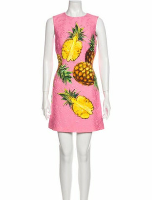 Dolce & Gabbana Floral Print Mini Dress Pink