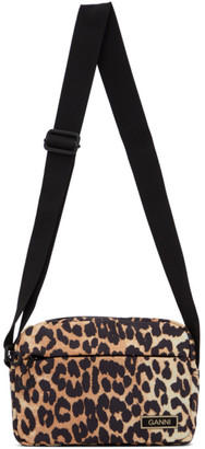 Ganni Black and Brown Recycled Leopard Print Pouch