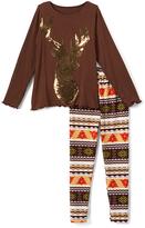 Beary Basics Gold & Brown Deer Long-Sleeve Tee & Leggings - Toddler & Girls