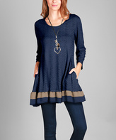 Aster Navy & Beige Pocket Tunic - Plus Too