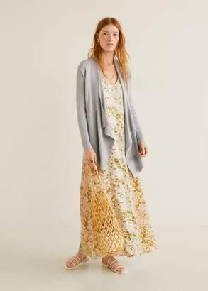 MANGO Ribbed long cardigan grey - XS - Women