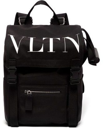 Valentino Garavani - Vltn-print Leather-trimmed Canvas Backpack - Mens - Black