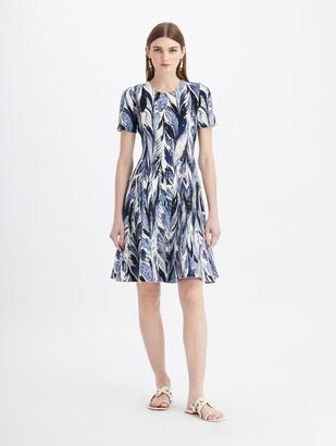 Oscar de la Renta Short Sleeve Knit Dress