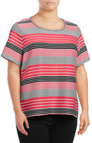 Calvin Klein Plus Striped Scoop-Neck Top