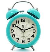 """JCC 3"""" Retro Twin Bell Silent Non Ticking Sweep Second Hand Bedside Desk Analog Quartz Movement Alarm Clock with 5 min Snooze Repeat Alarm, Nightlight and Loud Alarm, Battery Operated (Turquoise)"""