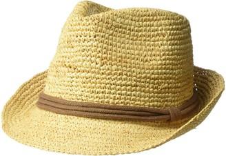 Ale By Alessandra Women's Marin Crochet Raffia Fedora Sunhat Packable & Adjustable