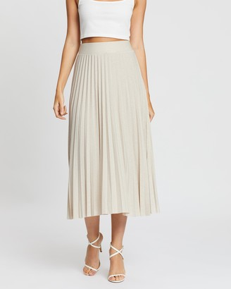 boohoo Metallic Pleated Midi Skirt