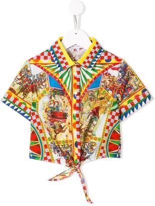 Dolce & Gabbana Kids Printed Cropped Shirt
