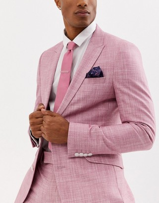 Moss Bros tie pocket square and pin set in pink