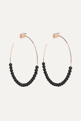 Diane Kordas Explosion 18-karat Rose Gold, Onyx And Diamond Hoop Earrings - one size
