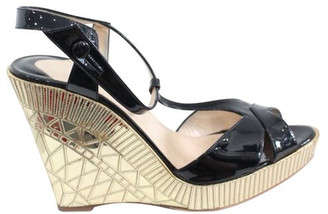 Christian Louboutin Black/Gold Patent Leather Wedge Sandals Size 38.5