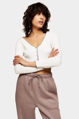 Topshop Womens Ecru Contrast Piping Crop Cardigan - Ecru