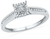 Zales 1/5 CT. T.W. Princess-Cut Diamond Square Frame Promise Ring in 10K White Gold