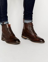 Frank Wright Brogue Boots - Brown