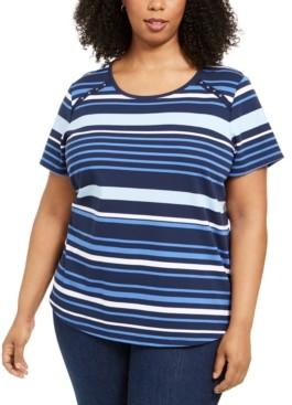 Karen Scott Plus Size Striped Grommet T-Shirt, Created for Macy's