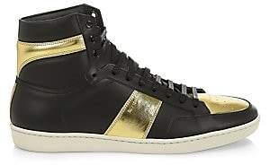 Saint Laurent Men's Hi-Top Leather Sneakers