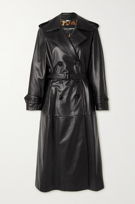 Dolce & Gabbana Belted Leather Trench Coat - Black