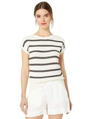 Lucky Brand Women's Stripe Short Sleeve Pullover Sweater