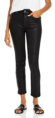 Paige Hoxton Coated Ankle Skinny Jeans in Black Croc
