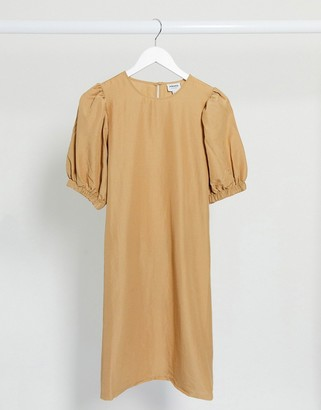 Vero Moda Aware midi dress with puff sleeves in tan