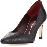 Etienne Aigner Laurel Snake-Embossed Pointed-Toe Pump, Black