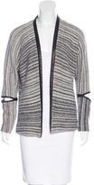 Yigal Azrouel Leather-Trimmed Open Front Cardigan