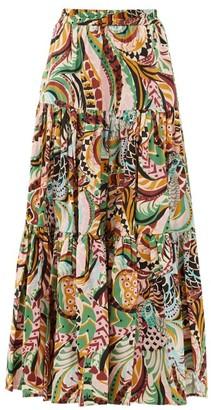 La DoubleJ Big Skirt Peacock-print Cotton-poplin Maxi Skirt - Multi