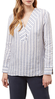 Jaeger Striped Linen Tunic, White/Blue