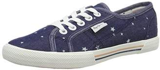 Pepe Jeans Women's Aberlady Star Jeans Low-Top Sneakers, Blue (Navy), (39EU)