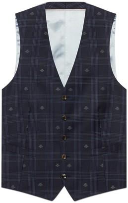 Gucci Bee check formal vest