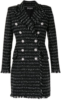 Balmain Double-Breasted Tweed Coat
