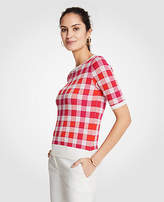 Ann Taylor Plaid Jacquard Sweater Tee