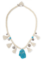 Chan Luu Tasseled Turquoise And Silver Beaded Necklace - Ivory