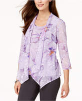 Alfred Dunner Petite Roman Holiday Printed Layered-Look Top
